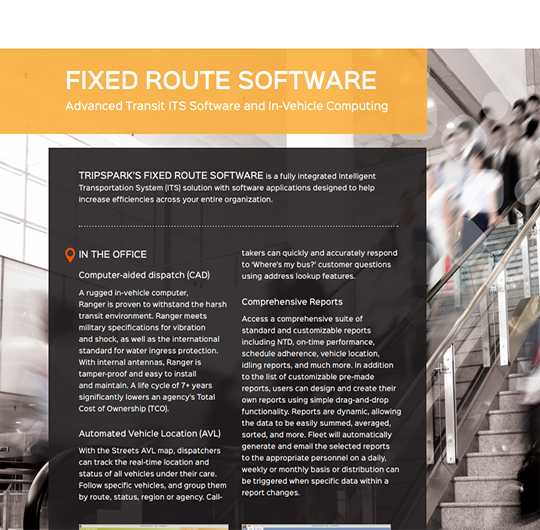 Streets | TripSpark's Fixed Route Software ITS Solution