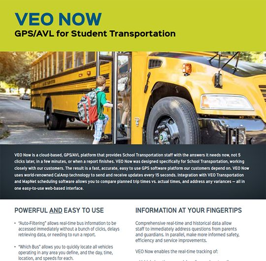 VEO NOW: GPS/AVL for Student Transportation