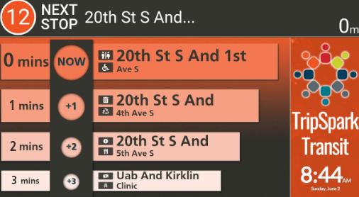 Infotainment Screenshot - Schedule and Next Stop