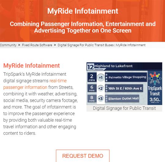MyRide Infotainment Landing Page