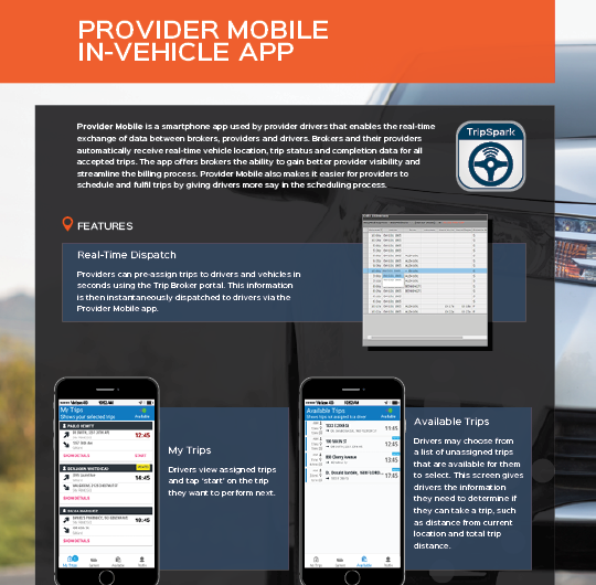 Provider Mobile In-Vehicle App