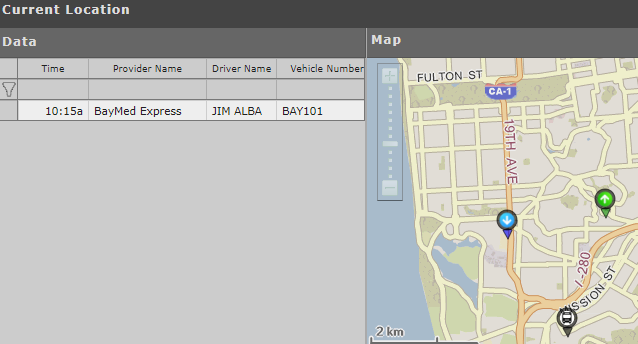 Track the real-time location of each provider, driver and vehicle.