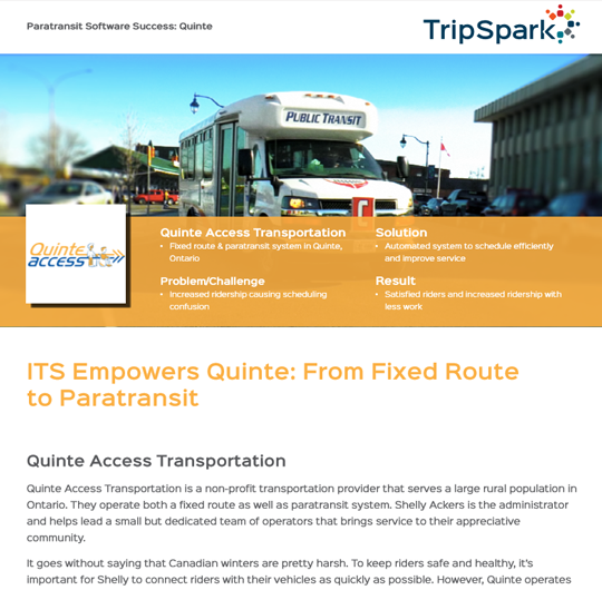 Quinte Access Transportation Case Study