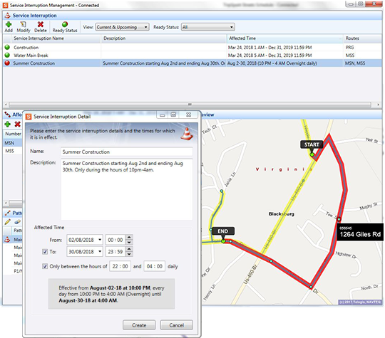 Create a description for the service interruption and set the effective dates and times in Streets Schedule