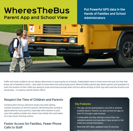 WheresTheBus Parent App and School View
