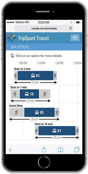Riders can see options for upcoming trips using the Trip Planner.