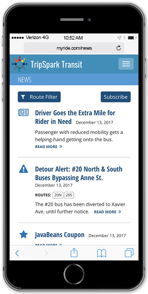 Publish general and route-specific news stories.